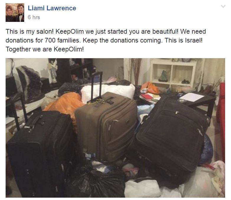 Liami Lawrence, founder of the KeepOlim Movement, shares a photo of his living room, now full of cloths and more, donated by generous citizens around the country