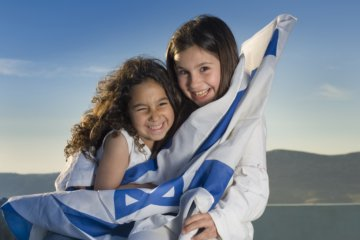 Girls with Israeli flag