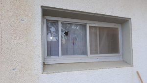 Sderot Home Takes a direct hit of rocket fragments